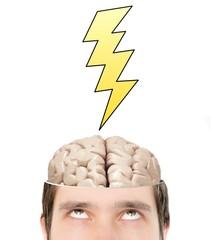 Intelligent brain inside mans head got new idea