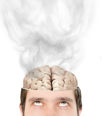 Smoking brain inside man who is tired of thinking