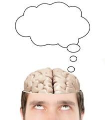 Bubble above brain inside thinking sliced mans head