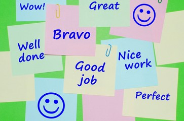 Appreciation messages on colorful reminder notes
