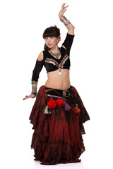 Beautiful woman dancing trible eastern belly dance.