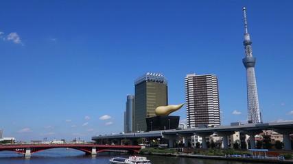 Tokyo Sky Tree and sumida river fine day.