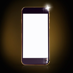 Golden phone on a black  background