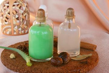 Oriental oil in bottles