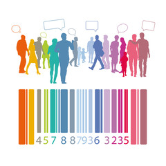 Menschengruppe - mit Barcode und Sprechblasen