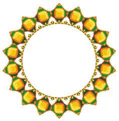 Round frame with yellow diamonds