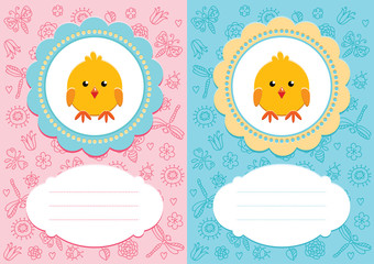 Baby cards with baby bird