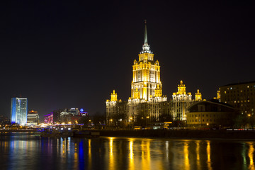 Ukraine hotel at night
