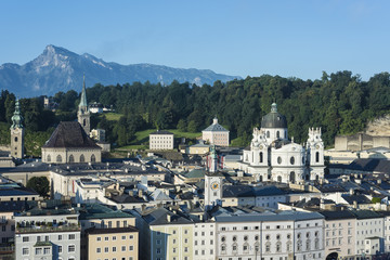 Salzburg general view from Kapuzinerberg viewpoint, Austria