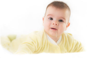 Cute baby boy on white background.