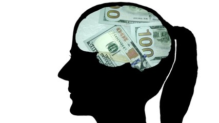 The woman's head, in the brain thought of dollars. Recalculates