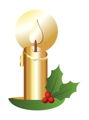 Golden Christmas Candle with Holy Leaves