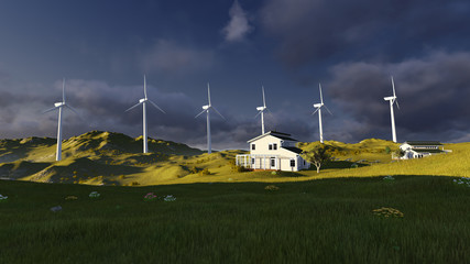 Wind turbines on a green field