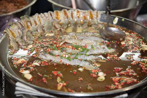 Keuken foto achterwand Boodschappen spicy pickled mantis shrimp