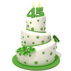 Birthday cake with number forty five