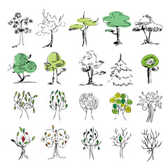 set of 20 colored trees on a white background , sketch