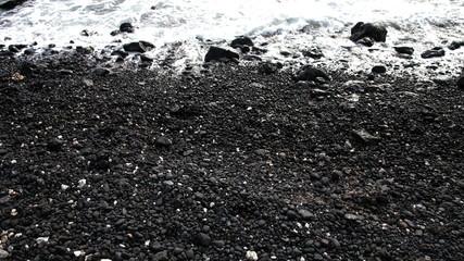 Time Lapse Pan of Volcanic Rock Shore - Hawaii