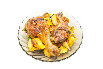 plate with chicken and potatoes