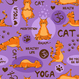 Seamless pattern with red cat doing yoga position.
