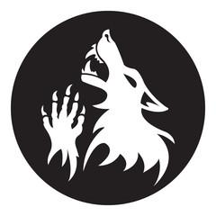 Vector werewolf stencil. Black-White color.