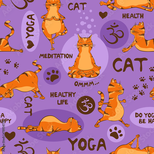 Seamless pattern with red cat doing yoga position. - 78854776