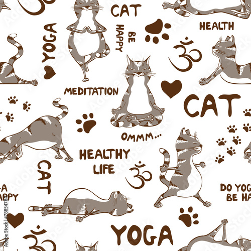 Zdjęcia na płótnie, fototapety, obrazy : Seamless pattern with cat doing yoga position.