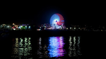 Santa Monica Pier at Night - Time Lapse