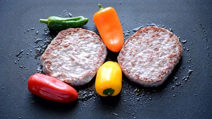 Burger Patty Cooked With Peppers