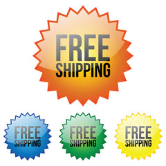 Glossy Free Shipping Icon - Orange, Blue, Green and Yellow