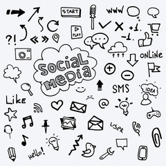 Social media icons vector drawing by hands.