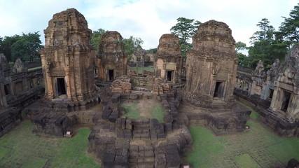 Aerial shot of Sand stone castle Phanomrung Historical Park