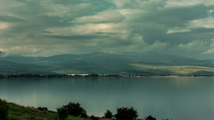 4K time lapse of Sea of Galilee where according to the legend