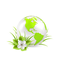 Earth globe with flower