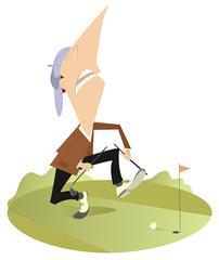 Angry golfer has broken his golf club