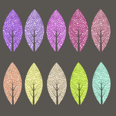 Colored leaves set