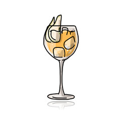 Cocktail with pear, sketch for your design