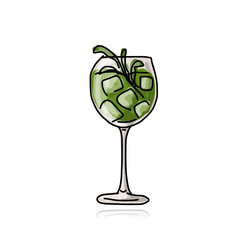 Green cocktail, sketch for your design