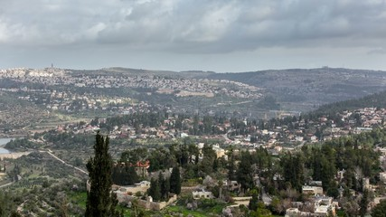 Clouds float over the holy city of Jerusalem. View of the