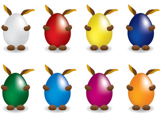 Easter bunny behinde egg set