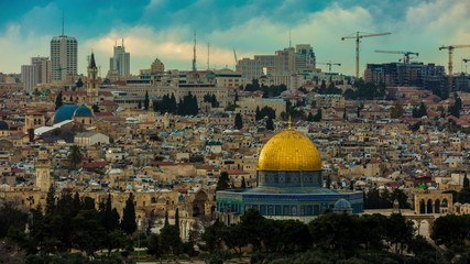 Dome of the Rock as viewed from the Mount of Olives. View of the