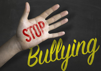 Stop Bullying educacional message on blackboard