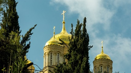 4K time lapse shooting of a Russian Orthodox cathedral church