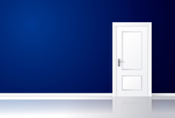 White door closed on a blue wall with reflective floor.