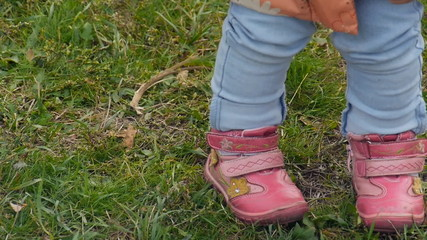 Children's shoes, pink shoes closeup