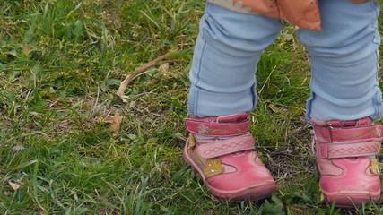 Children's shoes, pink shoes closeup
