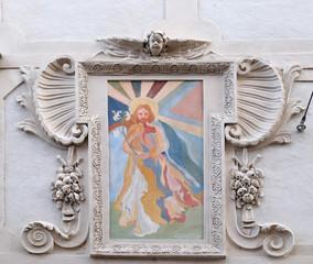St Joseph fresco painting on the house facade in Graz, Austria