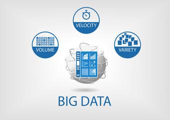Big data volume, variety, velocity vector illustration