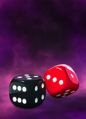 Dice, black and red