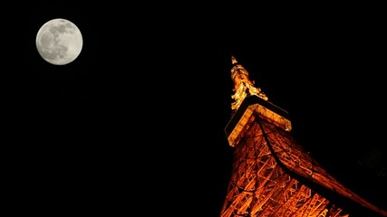 Tokyo Tower light up and FULL moon