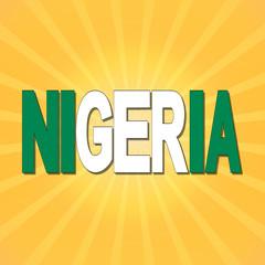 Nigeria flag text with sunburst illustration